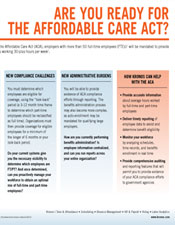 Are You Ready for the Affordable Care Act?  ACA one page slick
