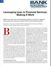 Leveraging Lean in Financial Services: Making It Work
