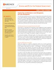 Solutions for Federal Government: Kronos webTA™ Data Sheet