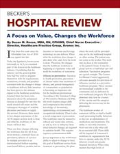 Becker's Hospital: A Focus on Value, Changes the Workforce